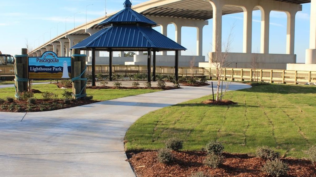Lighthouse Park is located under the high-risk bridge in Pascagoula and features a fishing...