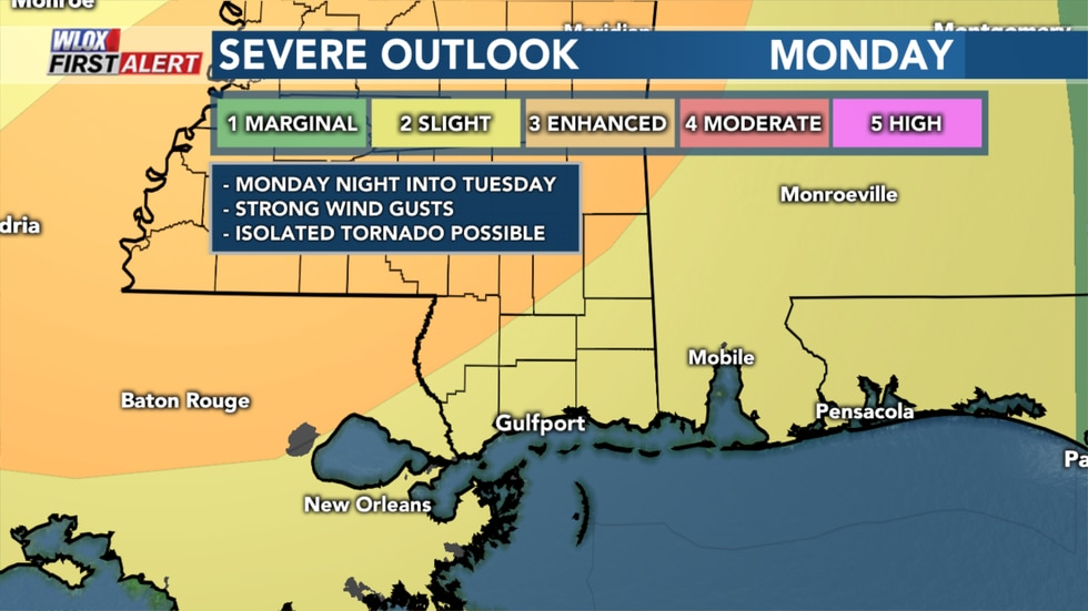 Severe Weather Outlook for Monday
