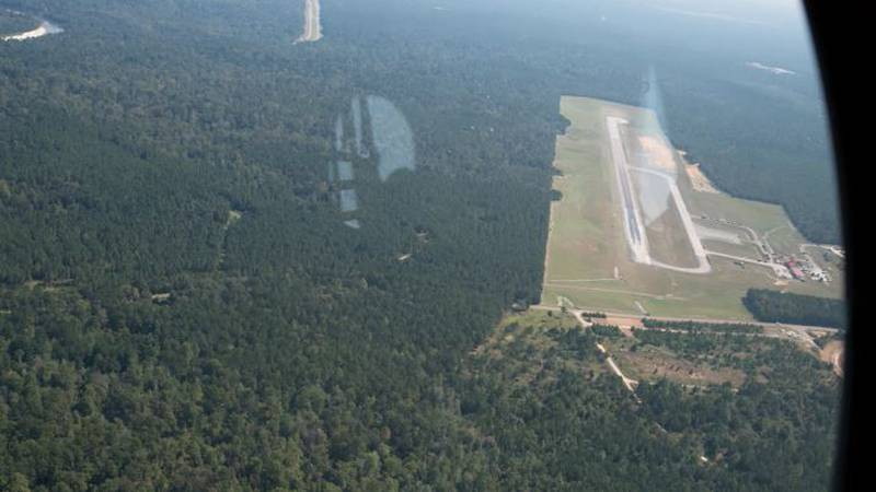 Picture taken during drop zone survey after training accident at Camp Shelby.