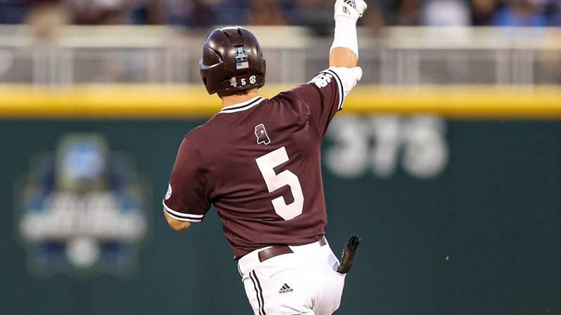 Tanner Allen celebrates hitting a go-ahead three run homer in the Bulldogs 6-5 win over UVA