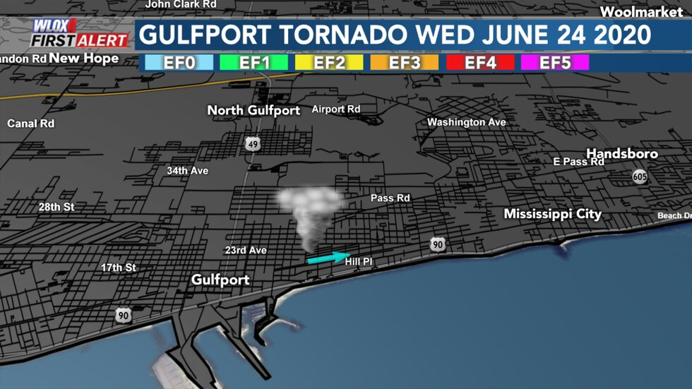 EF0 Gulfport tornado from Wednesday June 24 2020