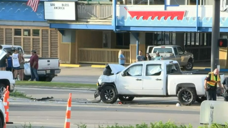 One person was injured after being thrown from the bed of a pick-up truck during an accident in...