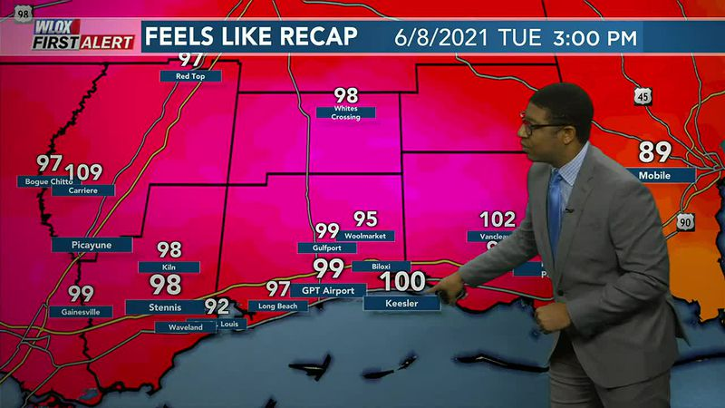 Yesterday Biloxi reported a heat index of 100 degrees. Another hot one for Wednesday with a few...