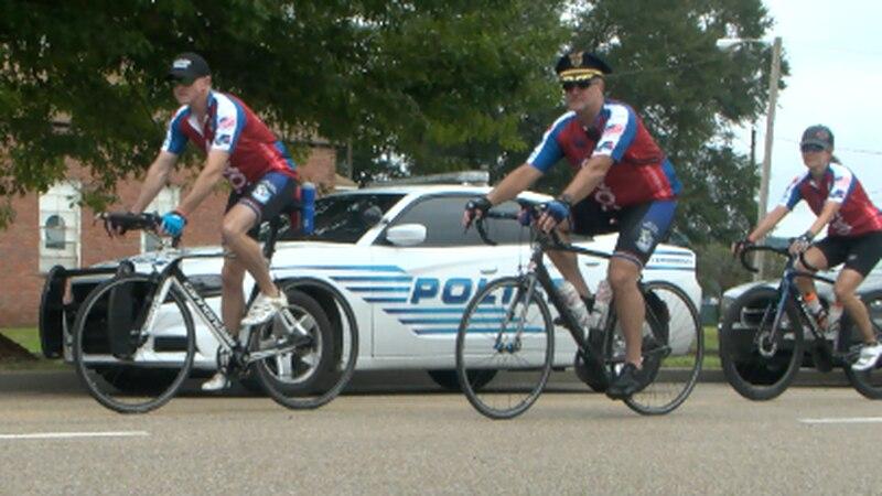 Gulf Coast Brotherhood Riders arrive in Hattiesburg.