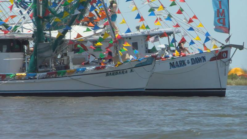 Decorated boats fill the Mississippi sound for the 92nd Annual Blessing of the Fleet.