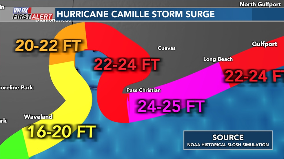 NOAA Historical SLOSH storm surge model simulation of Hurricane Camille's storm surge. Peak...