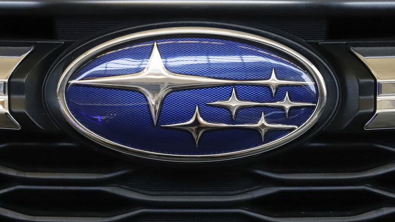 FILE - In this Feb. 14, 2019, file photo the Subaru logo on the front grill of a 2019 Subaru...