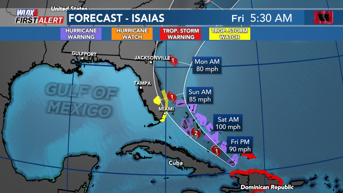 Isaias is forecast to remain a hurricane as it nears Florida this weekend.