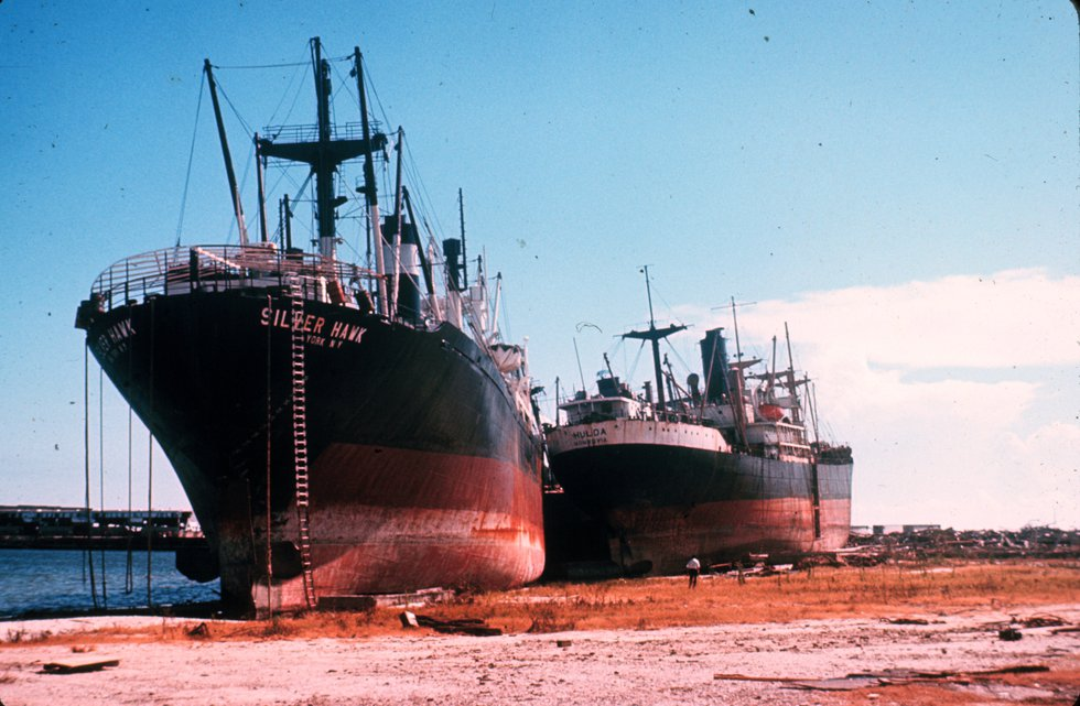 Large ships pushed inland by Hurricane Camille's storm surge in Gulfport (Source: NOAA)