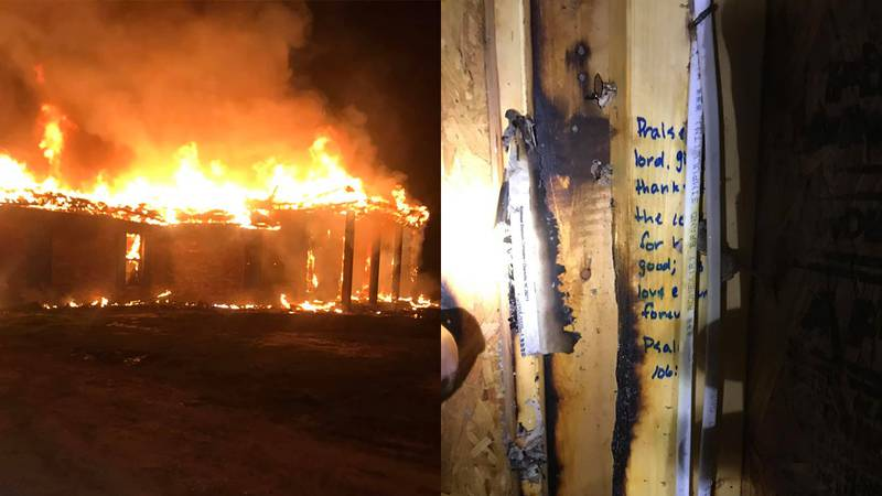 A home was completely destroyed by flames in Livingston Parish, except several wall studs where...