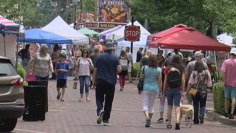 Stone County residents visits Wiggins downtown area its annual Pine Hill Festival.