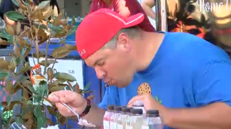 Residents in Ocean Springs gathered to witness famous professional eater Randy Santel.