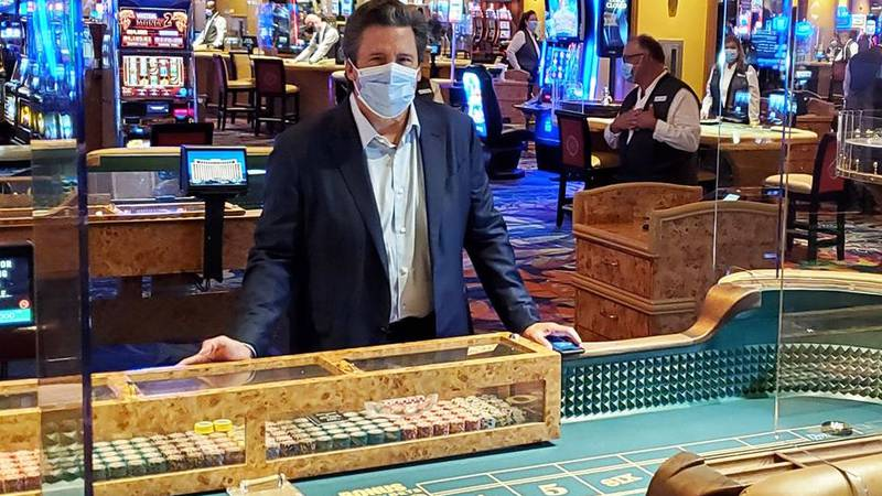 New safety procedures are in place at the Beau Rivage, like plexiglass surrounding tables, a...