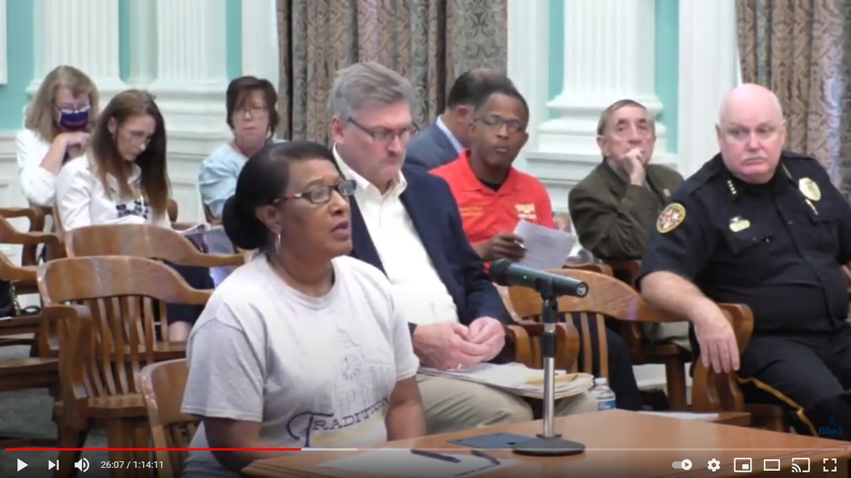 Glenda Williams addressed the Biloxi City Council Tuesday after a shooting in her neighborhood...