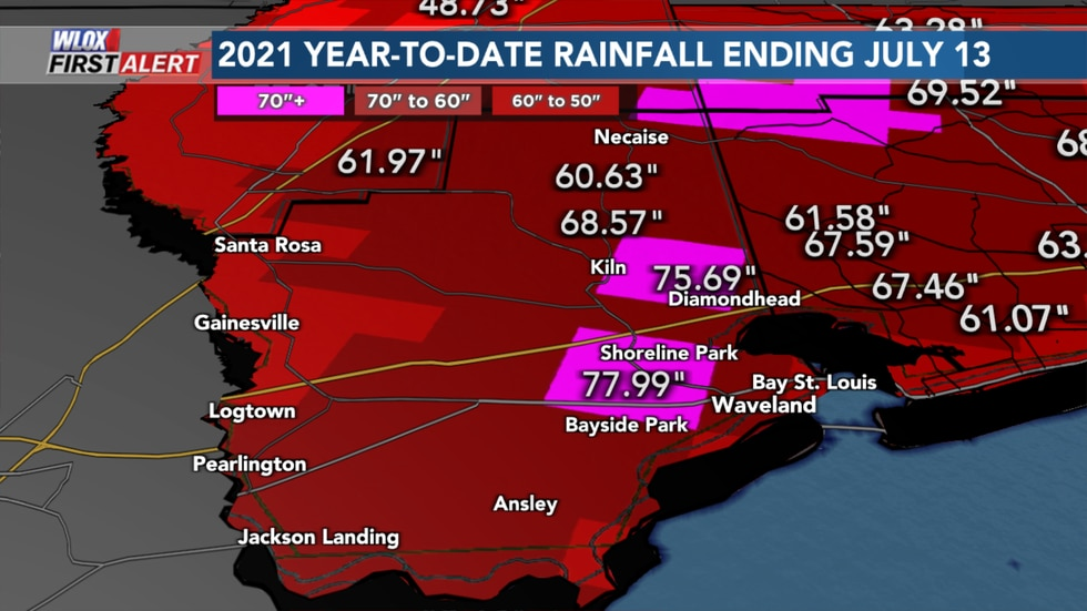Hancock County rainfall has been about 60 to 70 inches based on the map with some areas...
