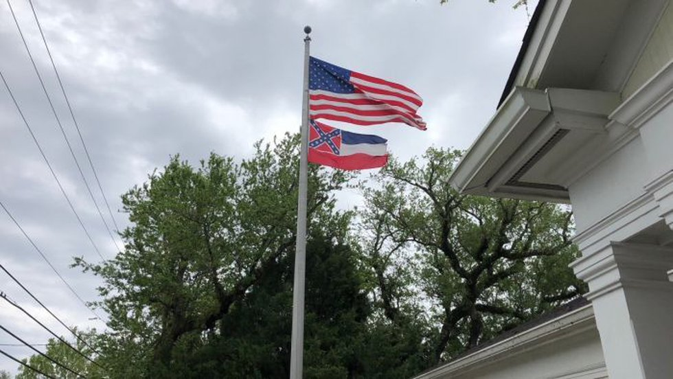 The state flag flying high in Ocean Springs. (Photo Source: WLOX)