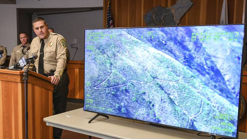Mariposa County Sheriff Jeremy Briese speaks during a news conference in Mariposa, Calif.,...