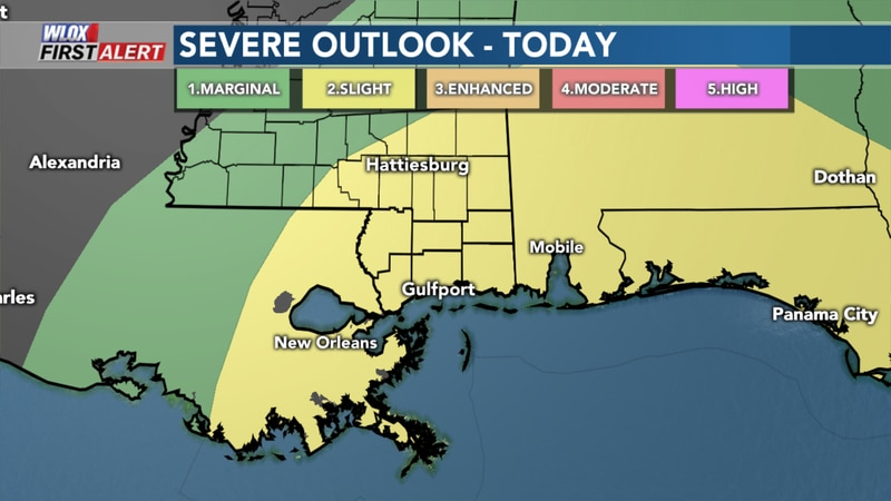 South MS is under a slight risk for severe weather today.