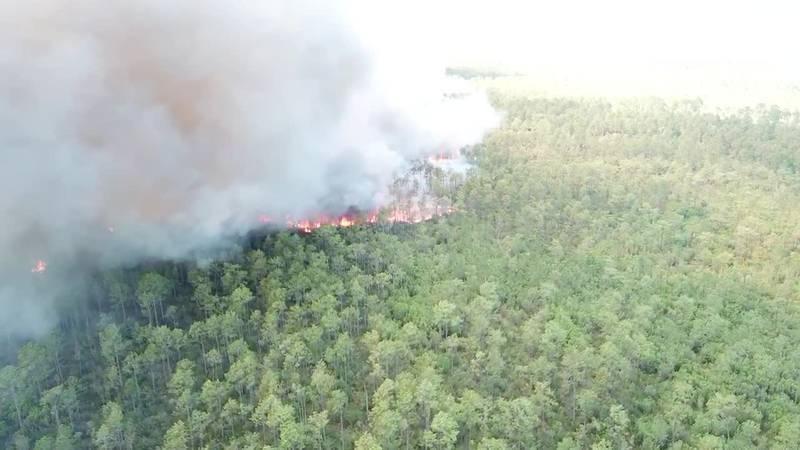 Harrison County Fire Chief Pat Sullivan said seven units are working to contain the blaze...