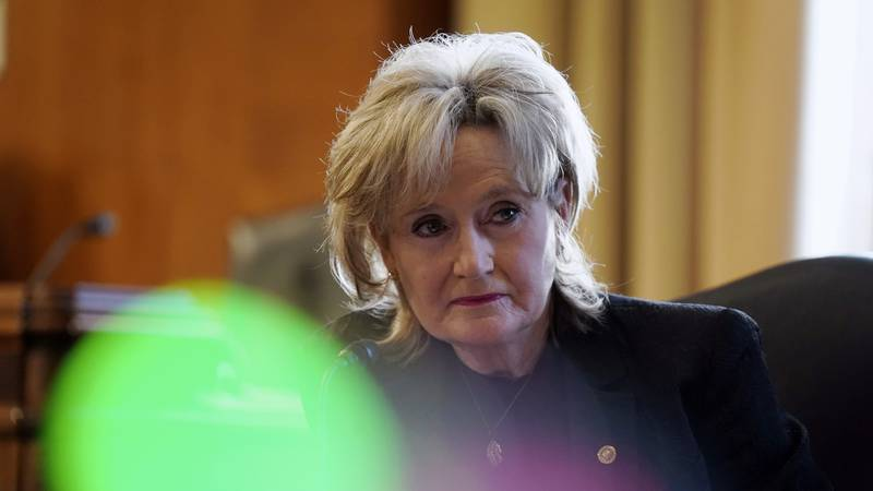 Sen. Cindy Hyde-Smith, R-Miss., speaks during a Senate Committee on Energy and Natural...